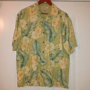 Tommy Bahama green/gold floral print silk shirt